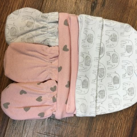 Set 03 nón + 03 bộ bao tay cho bé gái_trắng+hồng